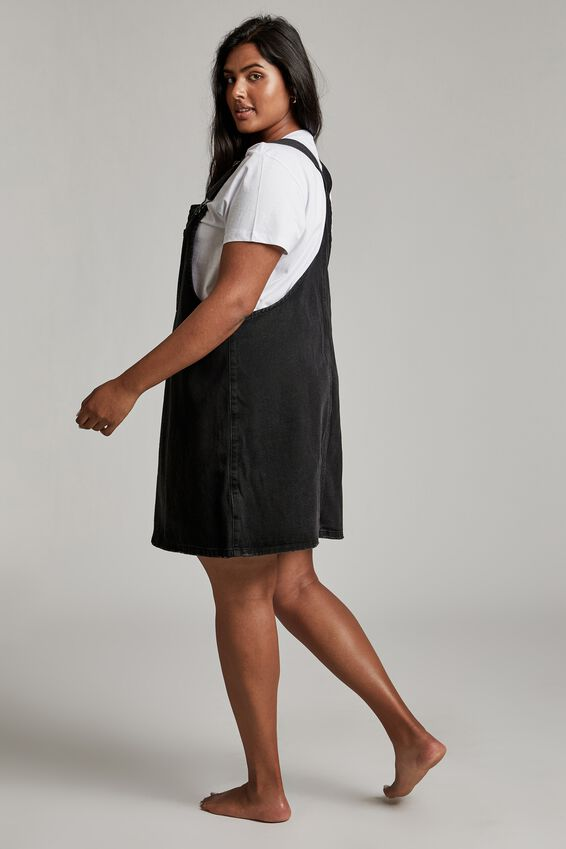 Curve Utility Denim Pinafore, MIDNIGHT BLACK