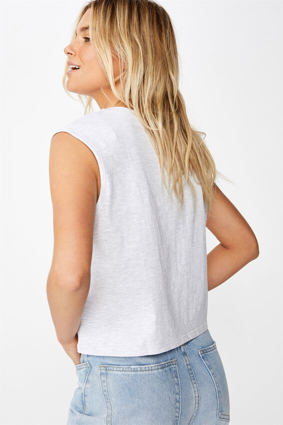 The Chop Muscle Tank, SILVER MARLE