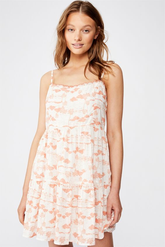 Woven Birdie Tiered Mini Dress, TAMMY TROPICAL NEO CANTELOPE