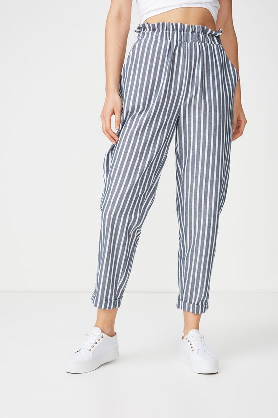 Abi High Waist Paperbag Pant, BLUE/WHITE STRIPE