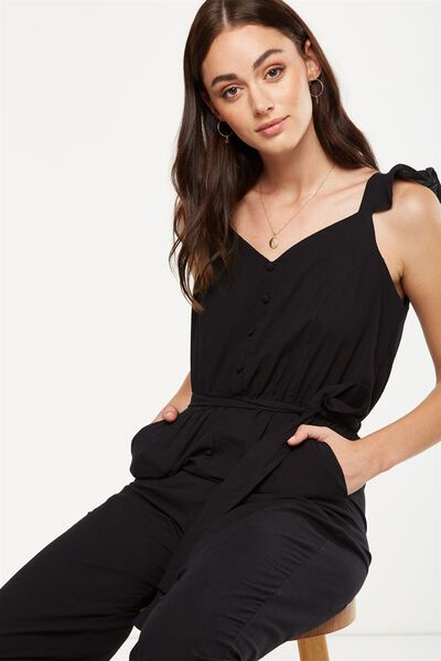 Woven Flo Tapered Jumpsuit, BLACK