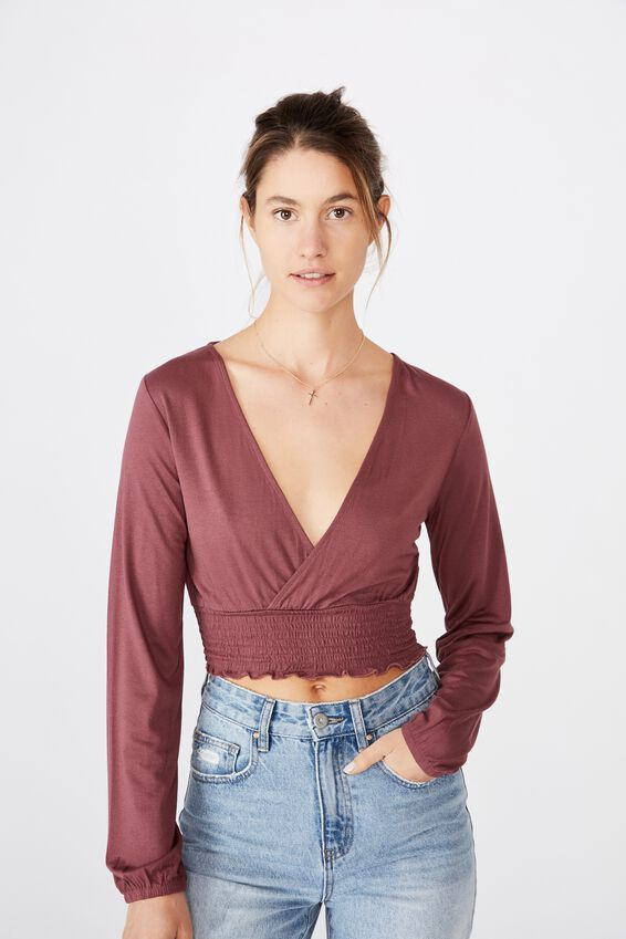 Cross Front Shirred Long Sleeve Top, DUSTY PLUM