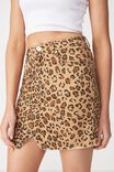 The Re-Made Mini Denim Skirt, LEOPARD
