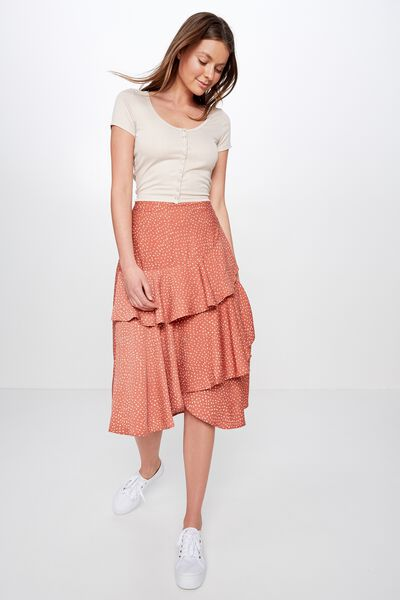 4fe37b5b1 Woven Ava Midi Skirt, ABIGAIL SPOT BRUSCHETTA. Cotton On Women
