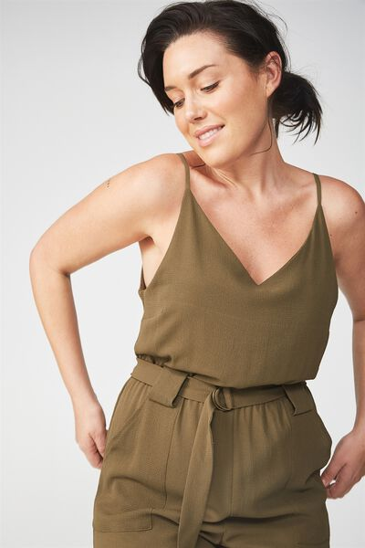 Woven Strappy Jackie Jumpsuit, BEECH