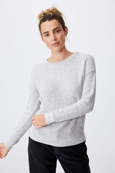 Cotton Pullover, ASH GREY MARLE WHITE TWIST