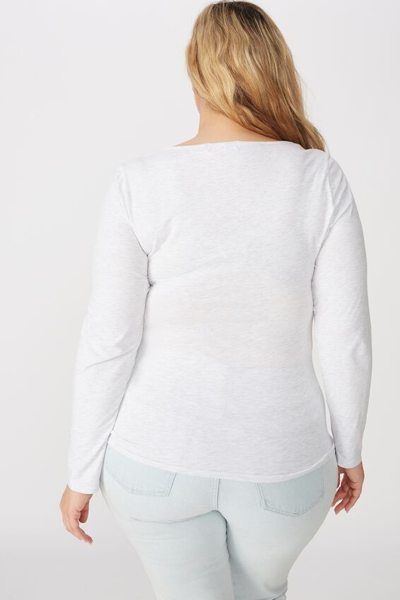 Curve Everyday Long Sleeve Scoop Top, SILVER MARLE