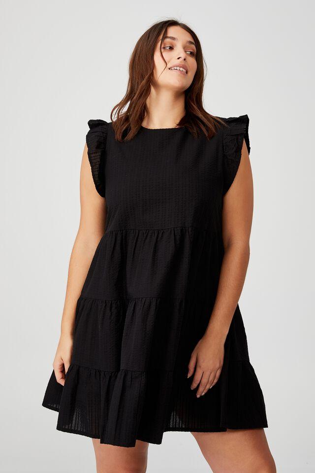 Curve Frill Sleeve Mini Dress, BLACK