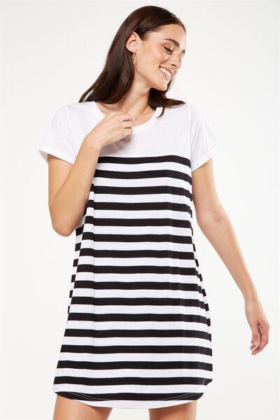 Tina Tshirt Dress 2, WHITE/BLACK BRETTON STRIPE