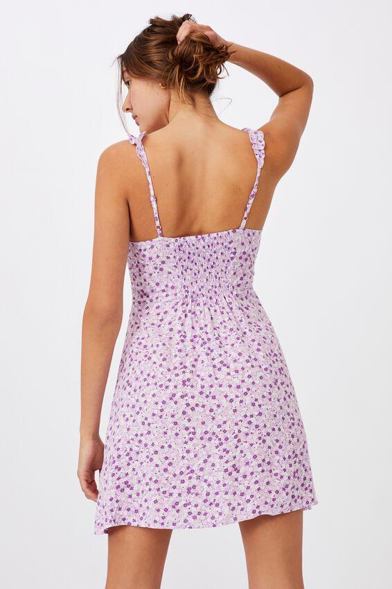 Woven Quinn Ruffle Strap Mini Dress, QUINN DITSY WHITE LILAC