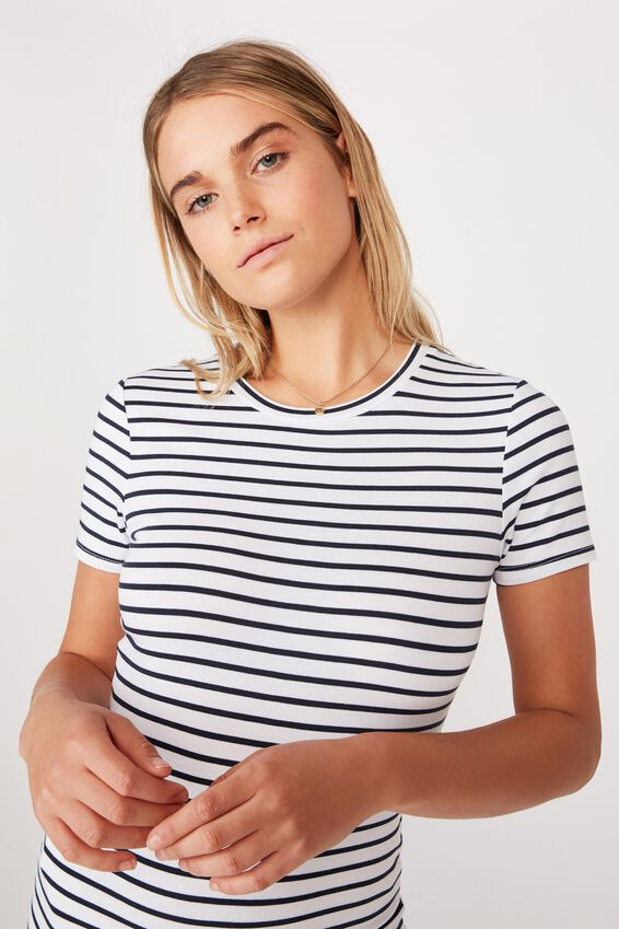 Essential Short Sleeve Midi Dress, COLE STRIPE WHITE MOONLIGHT