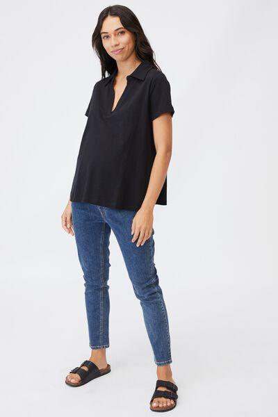 Maternity Short Sleeve Polo Top, BLACK