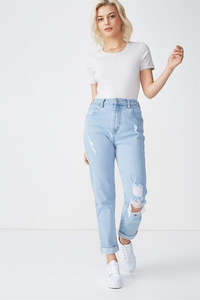 High Rise 90S Stretch Jean, SUMMER LIGHT BLUE RIPS