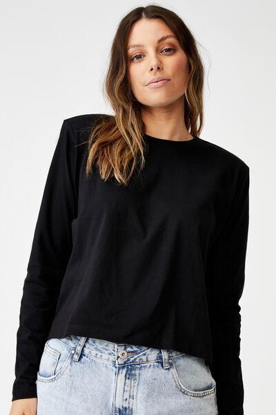 Padded Shoulder Long Sleeve Top, BLACK