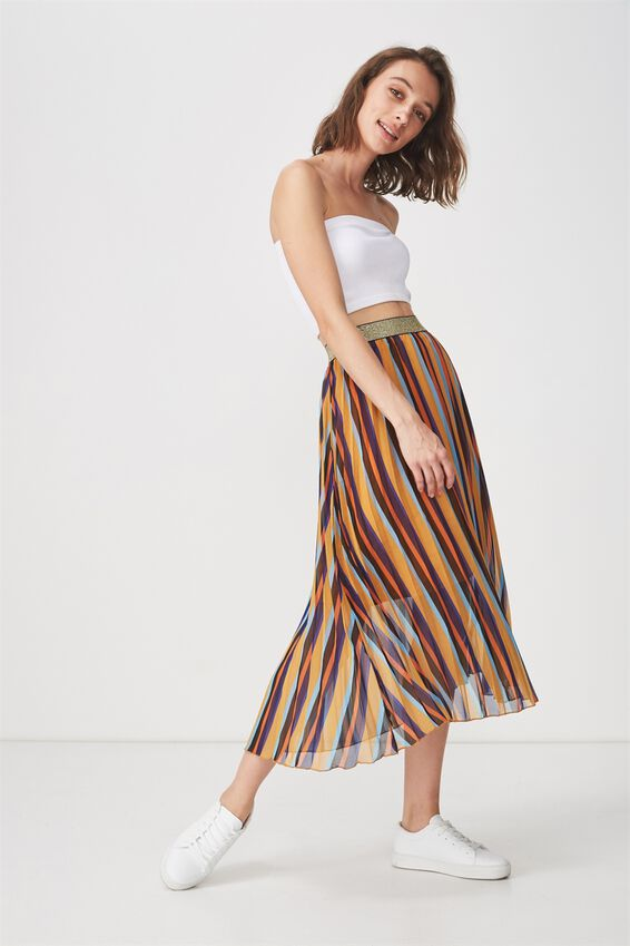 Woven Daria Pleated Midi Skirt, RILEY STRIPE INCA GOLD