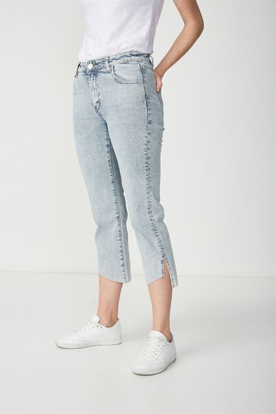 Mid Rise Straight Crop Stretch Jean, BLEACH BLUE HEM SPLIT