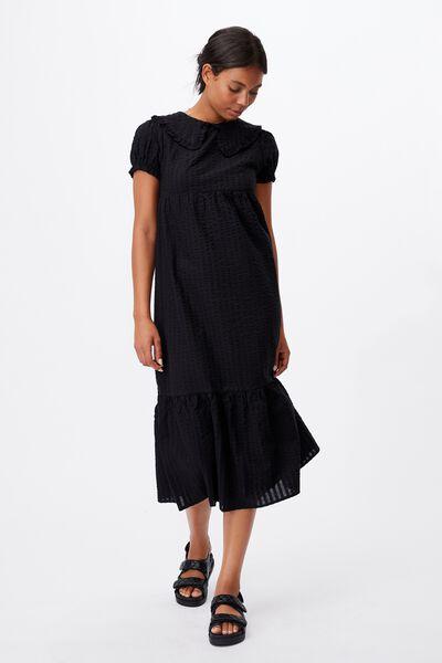 Woven Nori Babydoll Wide Collar Medaxi Dress, BLACK