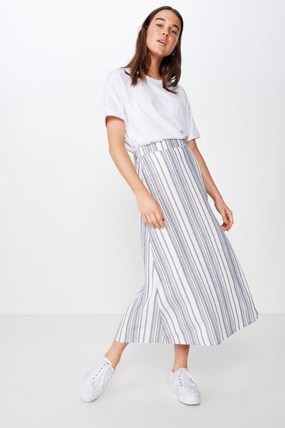 Woven Whitney Midi Skirt, LIZZIE STRIPE CROWN BLUE