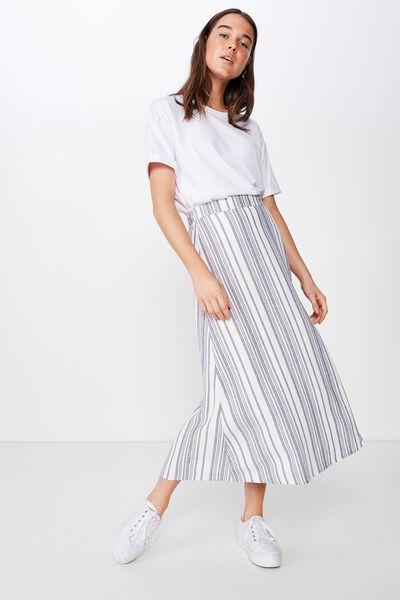 Woven Whitney Midi Skirt, LIZZIE STRIPE CROWN BLUE