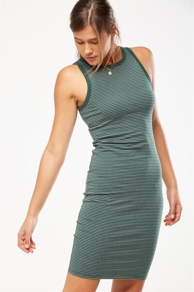 Lena Midi Dress, SALMA STRIPE TREKKING GREEN