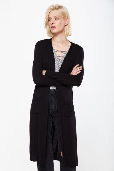 Sasha Long Line Cardigan, BLACK