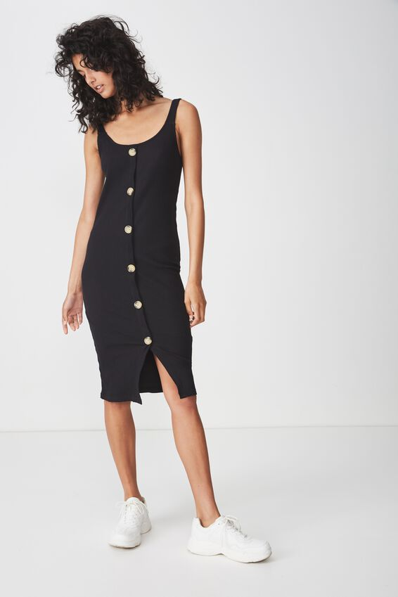 Lola Ribbed Button Through Midi Dress, BLACK RIB