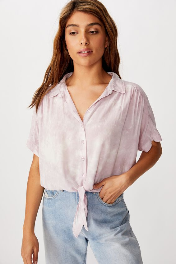 Epic Tie Front Short Sleeve Shirt, WASHED KEEPSAKE LILAC