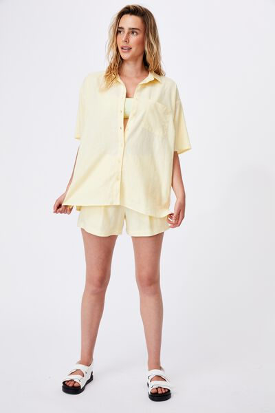 Dad Short Sleeve Shirt, LEMON