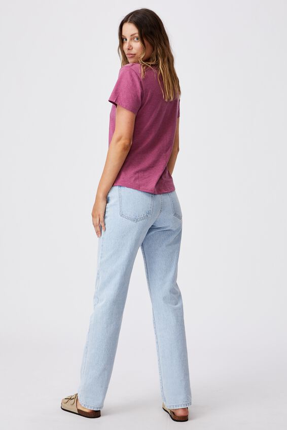 The One Fitted V Tee, DARK GRAPE MARLE