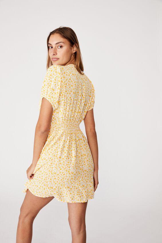 Woven Essential Button Front Mini Dress, ALISA DAISY WHITE
