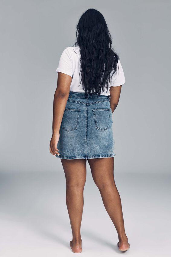 Curve Denim Mini Skirt, CABARITA BLUE