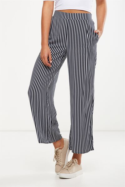 Wide Leg Pant, MILY VERTICAL STRIPE TOTAL ECLIPSE