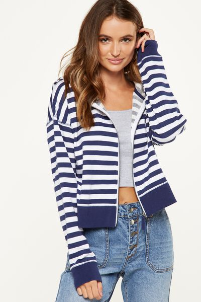 Donovon Zip Through Chop Hoodie, INDIGO/WHITE STRIPE