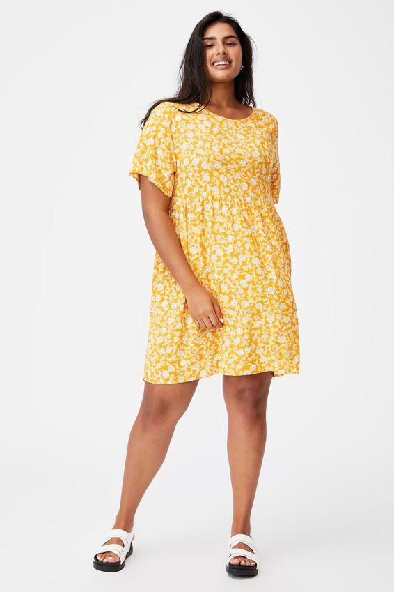 Curve Good Times Babydoll Mini Dress, SHARI FOLK FLORAL RETRO YELLOW