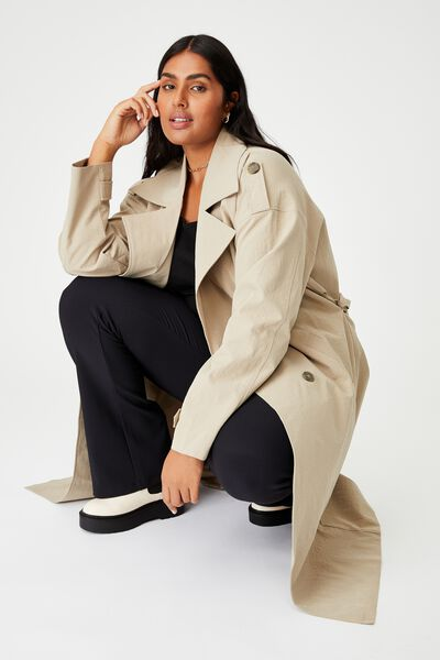 Curve Oversized Trench, TAUPE