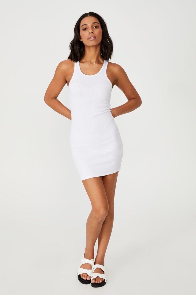 Essential Racer Mini Dress, WHITE