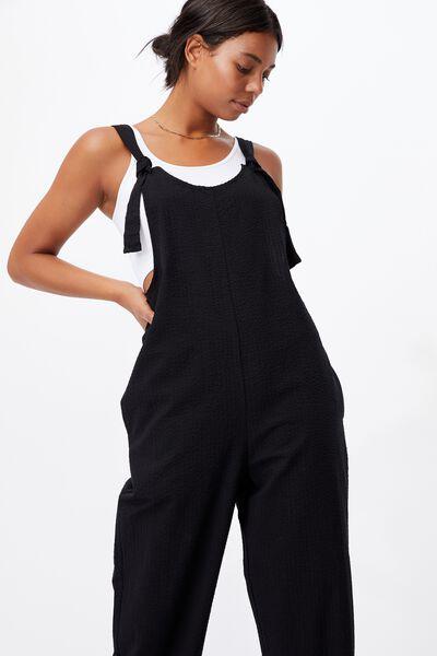 Woven Saige Gingham Jumpsuit, BLACK