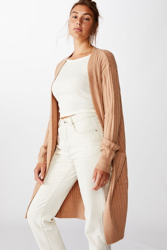 Lilly Longline Cardi, NATURAL