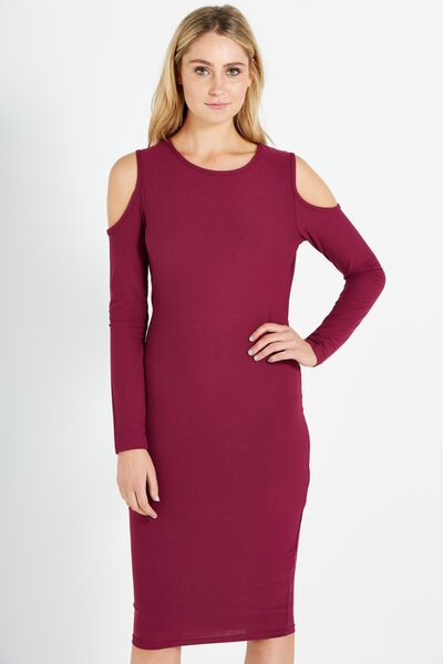 Avery Cold Shoulder Long Sleeve Midi Bodycon, DARK PLUM