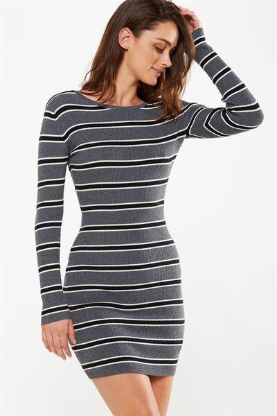 Sally Long Sleeve Midi Dress, CHARCOAL MARLE/BLACK/WHITE SALMA STRIPE