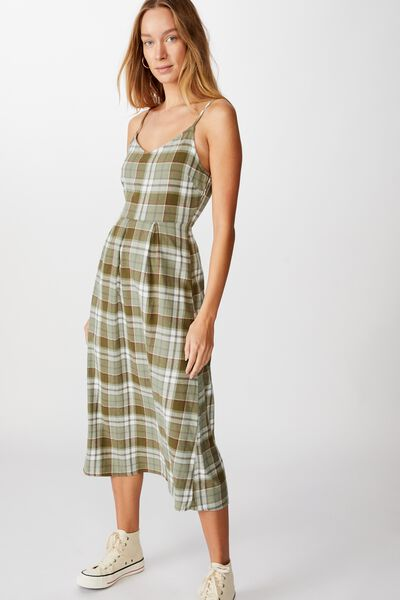 Woven Dalia Check Midi Slip Dress, STACEY CHECK DARK OLIVE