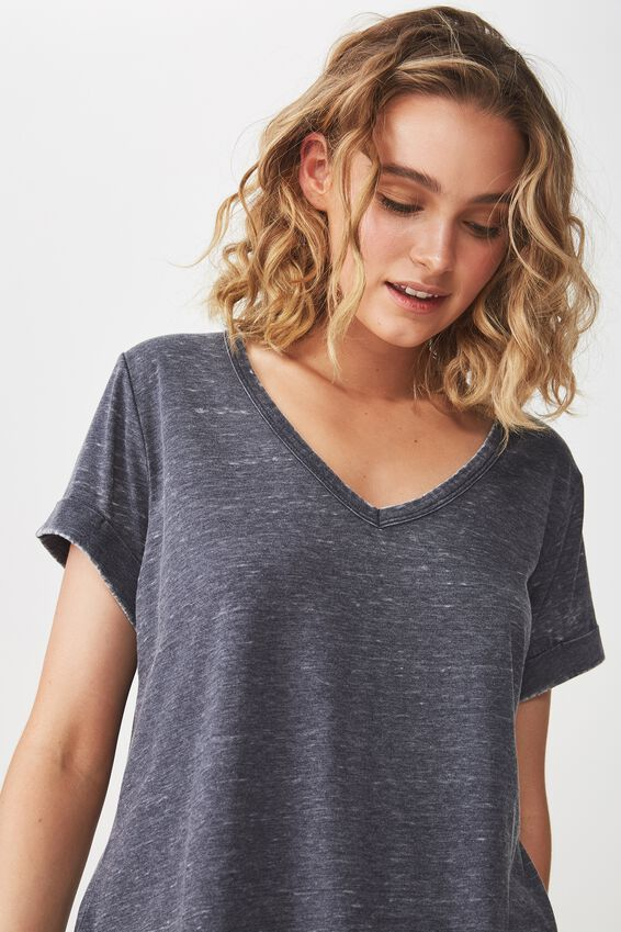 Karly Short Sleeve V Neck Top, MOONLIGHT BURNOUT