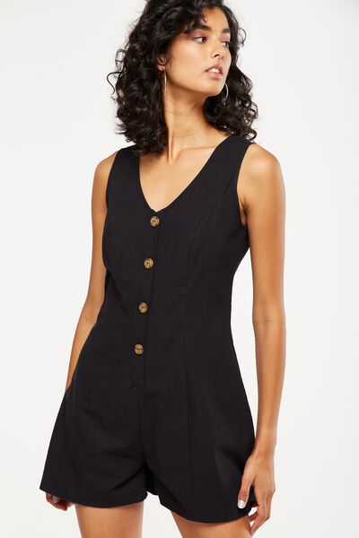 Woven Vicky V-Neck Button Through Playsuit, BLACK TEXTURE