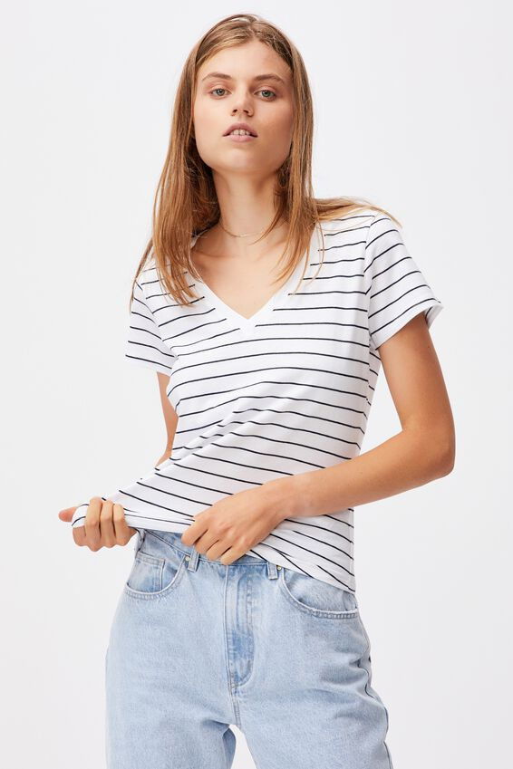 The One Fitted V Tee, LED STRIPE WHITE/MOONLIGHT