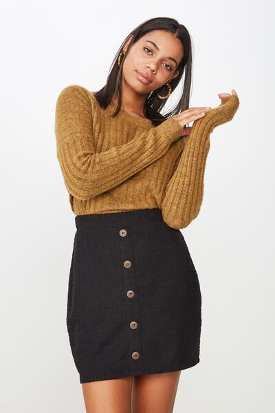 Gia Button Mini Skirt, BLACK
