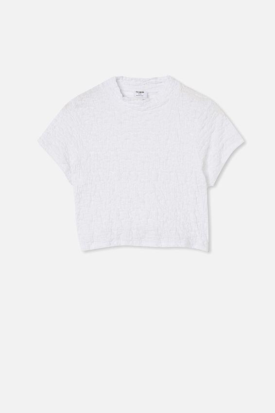 River Mock Neck Short Sleeve Top, WHITE