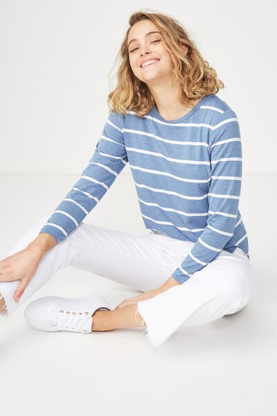 Kathleen Long Sleeve Top, NINA STRIPE MOONLIGHT MARLE/WHITE