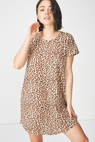Tina Tshirt Dress 2, SARAH LEOPARD TAN