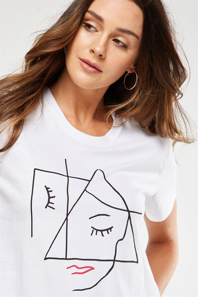 Tbar Fox Graphic T Shirt, ANGLE FACE/WHITE