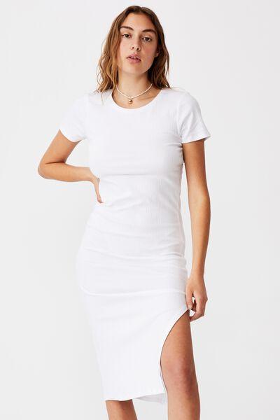 Essential Split Short Sleeve Midi Dress, WHITE